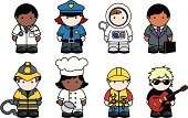 Cute vector icon set of people of different ethnicity in different professions including doctor, police officer, astronaut, businessman, firefighter, chef, builder and musician. All isolated on white.