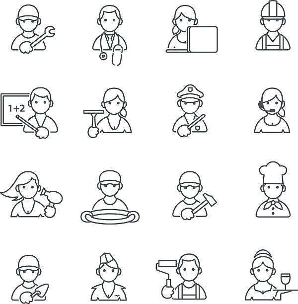 ilustraciones, imágenes clip art, dibujos animados e iconos de stock de profesiones iconos de línea fina. - conductor de autobús