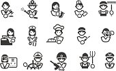 Set of 15 profession related icons. JPG file and EPS8 file.