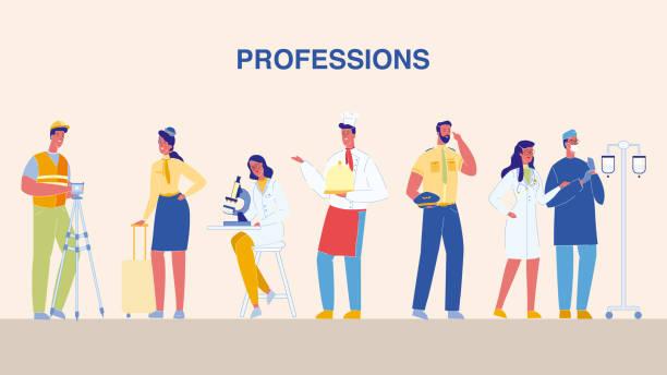 stockillustraties, clipart, cartoons en iconen met beroepen, jobs platte vector illustraties set - stewardess