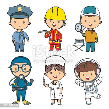 Vector professions kids set