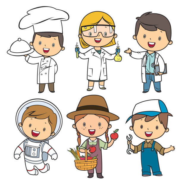 Professions kids set Vector professions kids set cooking clipart stock illustrations