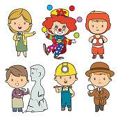 Vector professions kids set