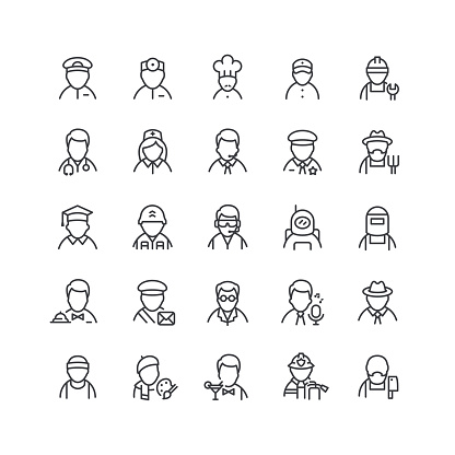 Professions Line Icons Editable Stroke