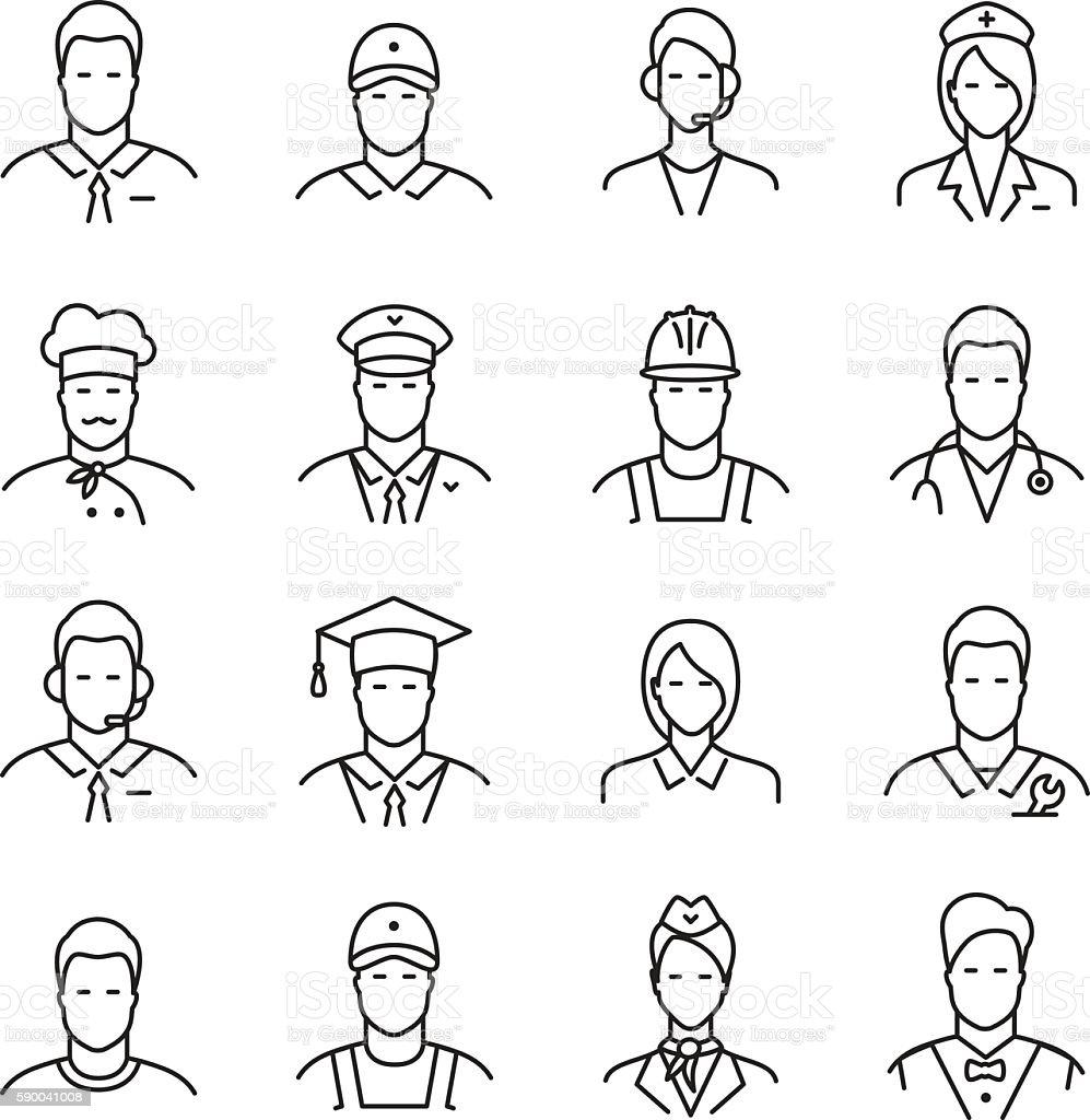 Professions line icons vector art illustration