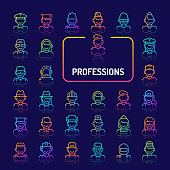 Simple gradient color icons isolated over dark background related to professions, occupations & employments. Vector signs and symbols collections for website and app..
