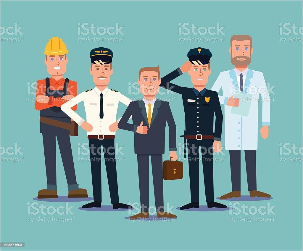 Professions people set. Flat vector vector art illustration
