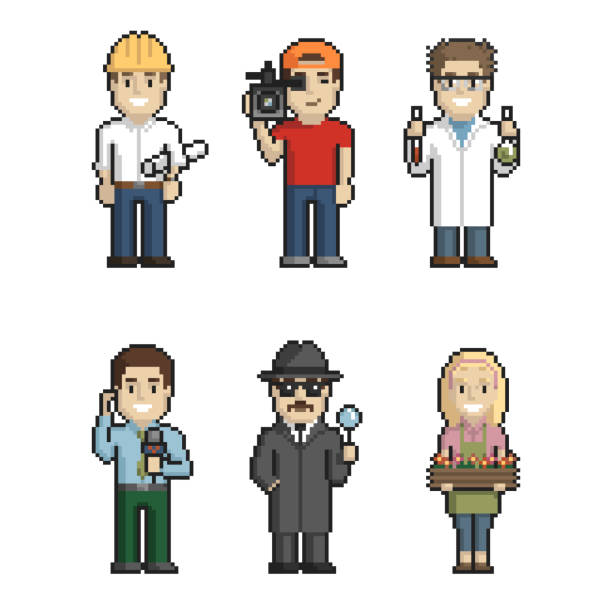 Professions pixel art on white background 1. Vector illustration. Pixel Art. Color vector illustration on white background switchboard operator vintage stock illustrations
