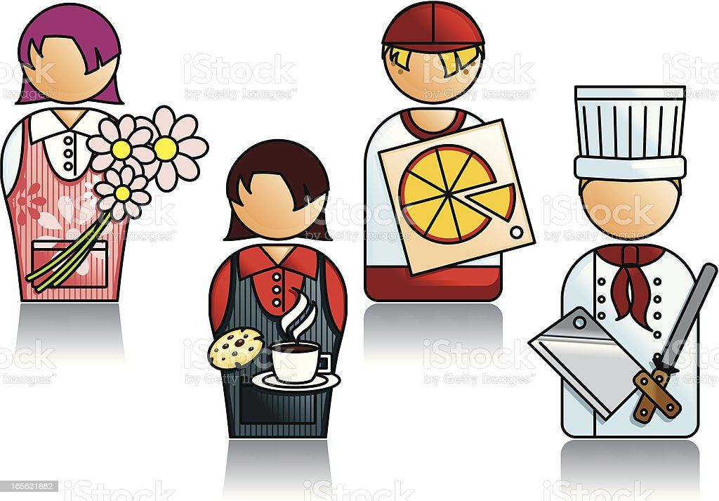 Professions Series with Various Food and Flower People royalty-free stock vector art