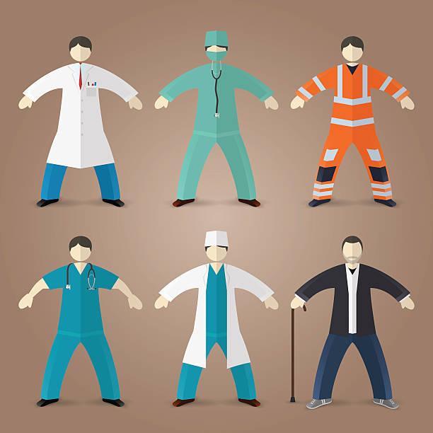 Professions set of medical doctors Professions set of medical doctors, male nurse and house md male nurse stock illustrations