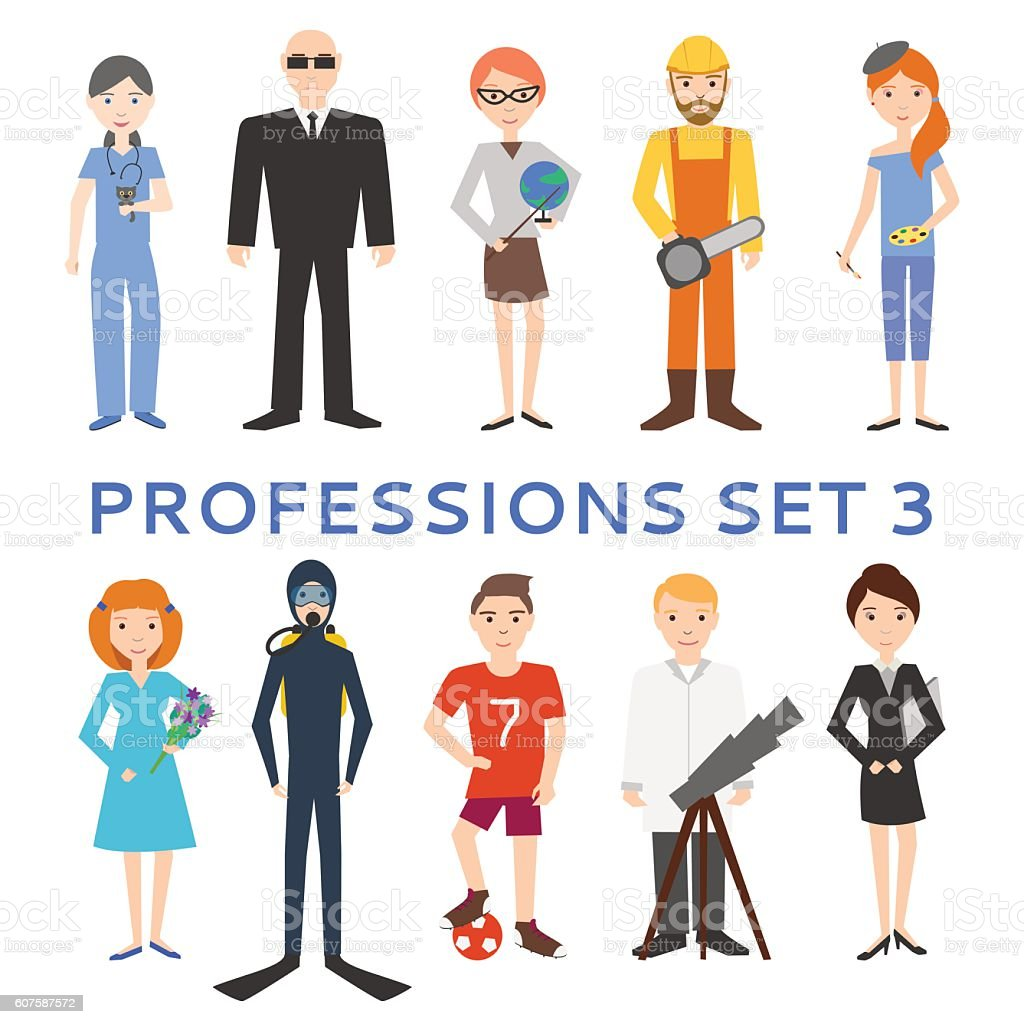 Professions, uniforms, job. Set of vector icons. - Illustration vectorielle