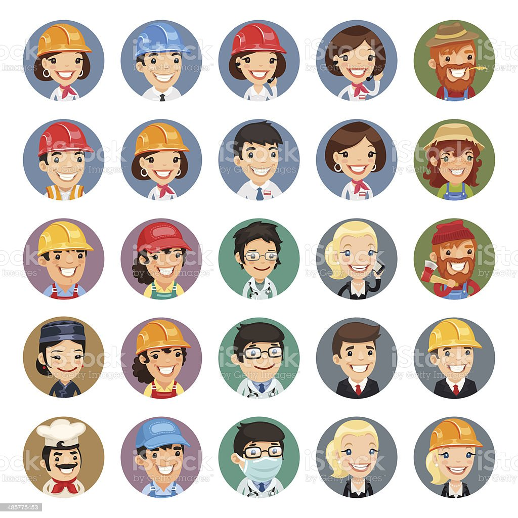 Professions Vector Characters Icons Set1.1 vector art illustration