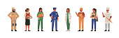 Different Professions People Characters Standing Together. Woman and Man Wearing Professional Uniform. Construction Worker, Doctor, Teacher, Policeman, Fireman. Flat Cartoon Vector Illustration.