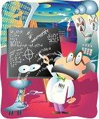 Professor And Robot In Laboratory
