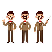 Middle aged professor character set with suit and bow tie. Standing, smiling and pointing. Cute cartoon vector illustration.