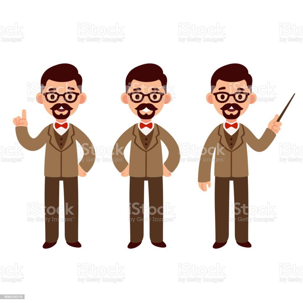Professor character set vector art illustration