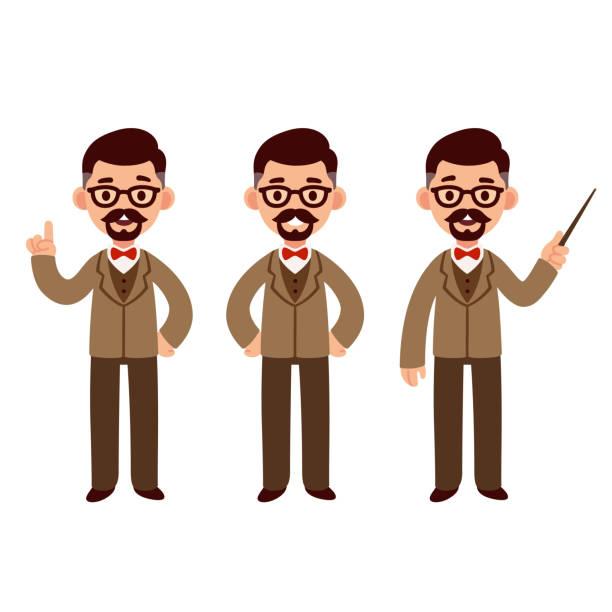 illustrations, cliparts, dessins animés et icônes de jeu de caractères de professeur - professeur d'université
