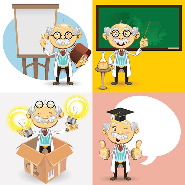 professor characters - old man showing thumbs up cartoons stock illustrations, clip art, cartoons, & icons