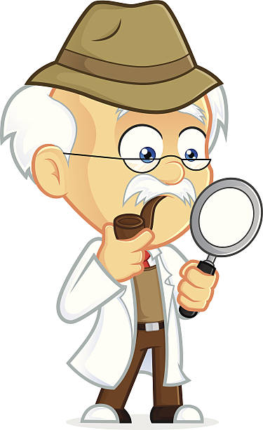 professor detective - old man portrait clip art stock illustrations, clip art, cartoons, & icons