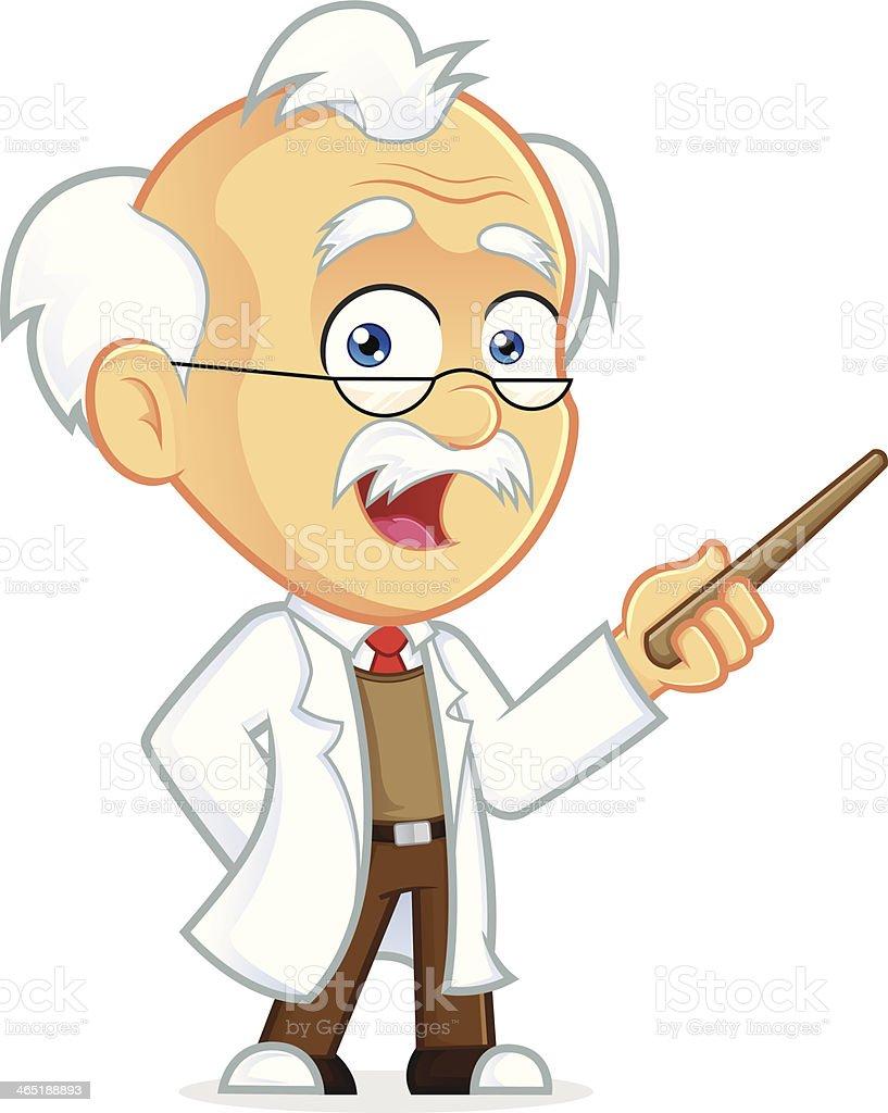 Professor Holding a Pointer Stick vector art illustration