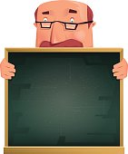 vector character of professor holding blackboard…