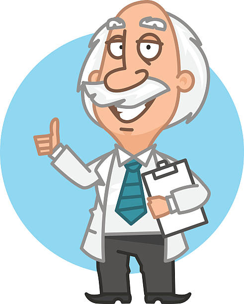 professor holding tablet and showing thumbs up - old man showing thumbs up cartoons stock illustrations, clip art, cartoons, & icons