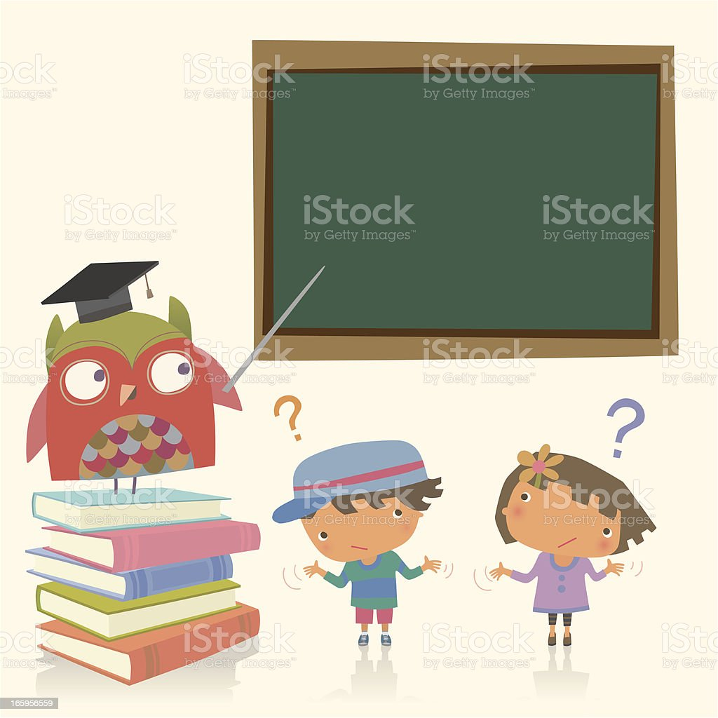 Professor owl and Student royalty-free stock vector art