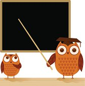 An owl teacher and his student, in front of a blackboard.