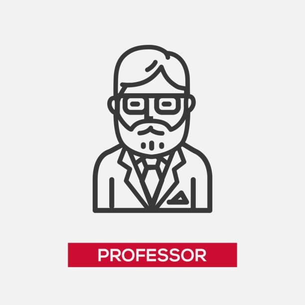 professor - single icon - old man glasses stock illustrations, clip art, cartoons, & icons