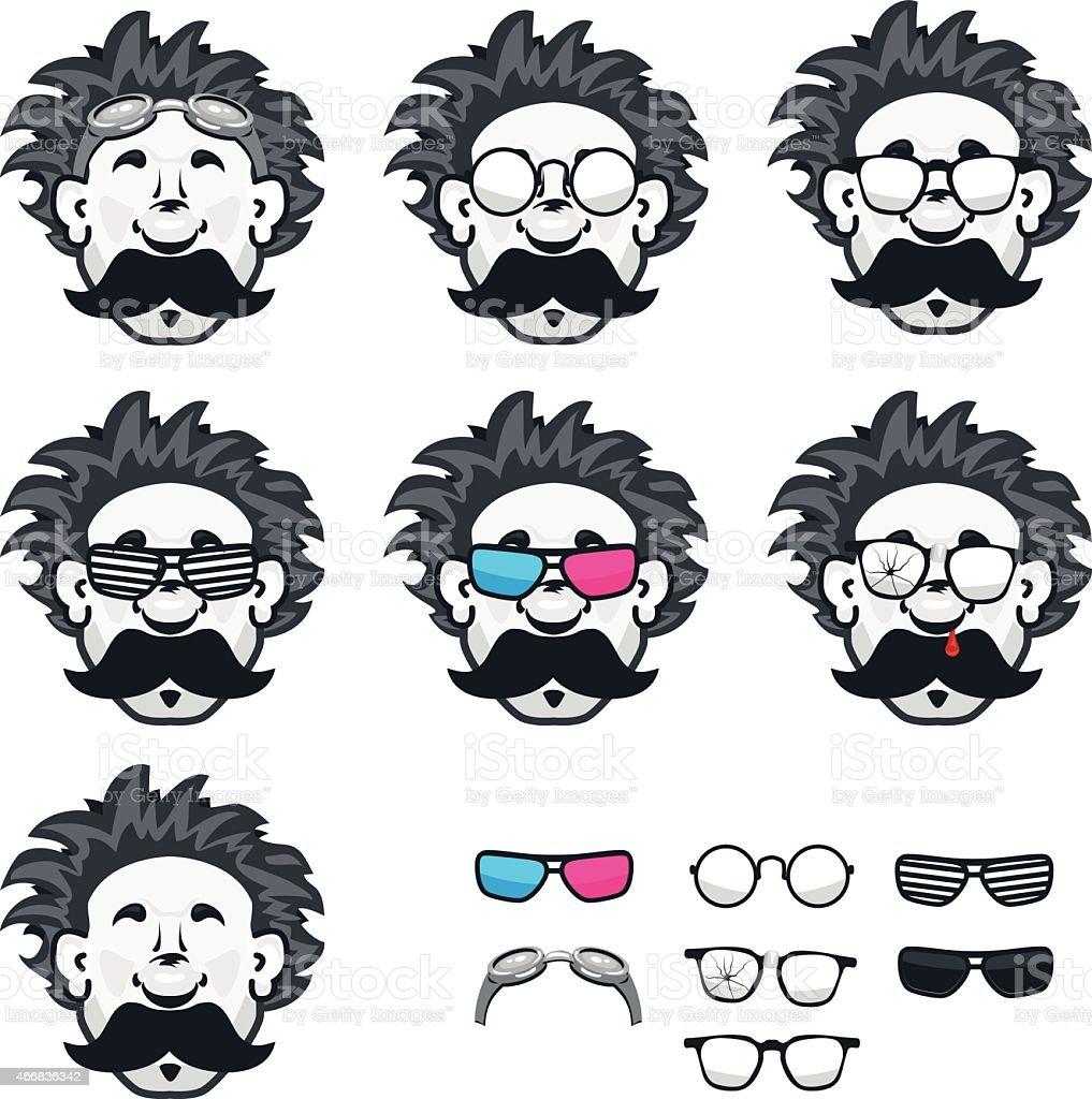 Professor mit vielen Gläsern - Lizenzfrei 2015 Vektorgrafik