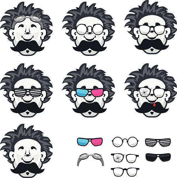 professor mit vielen gläsern - extravagant schutzbrille stock-grafiken, -clipart, -cartoons und -symbole