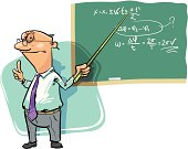Professor with pointer giving a lecture. On the board some kinematics formulas.