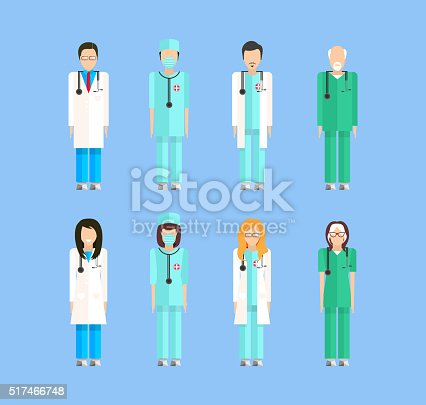 Stock vector set of isolated characters, doctor, nurses, male nurse, ambulance staff, therapists of polyclinics, medical staff of clinic flat style for icon, website, printed material white background