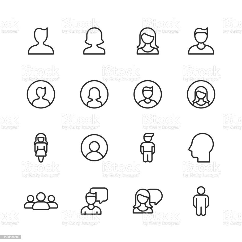 Profil- und Benutzerzeilensymbole. Bearbeitbarer Strich. Pixel perfekt. Für Mobile und Web. Enthält Symbole wie Profil, Benutzer, Social Media, Mitglied, Kommunikation, Avatar, Kundensupport, Mensch. - Lizenzfrei Abstrakt Vektorgrafik