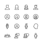 16 Profile and User Outline Icons.