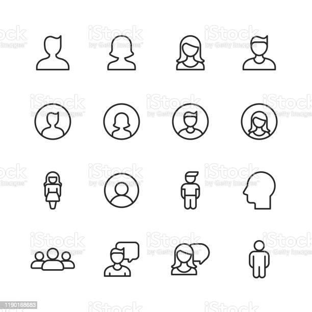 Profil Und Benutzerzeilensymbole Bearbeitbarer Strich Pixel Perfekt Für Mobile Und Web Enthält Symbole Wie Profil Benutzer Social Media Mitglied Kommunikation Avatar Kundensupport Mensch Stock Vektor Art und mehr Bilder von Abstrakt