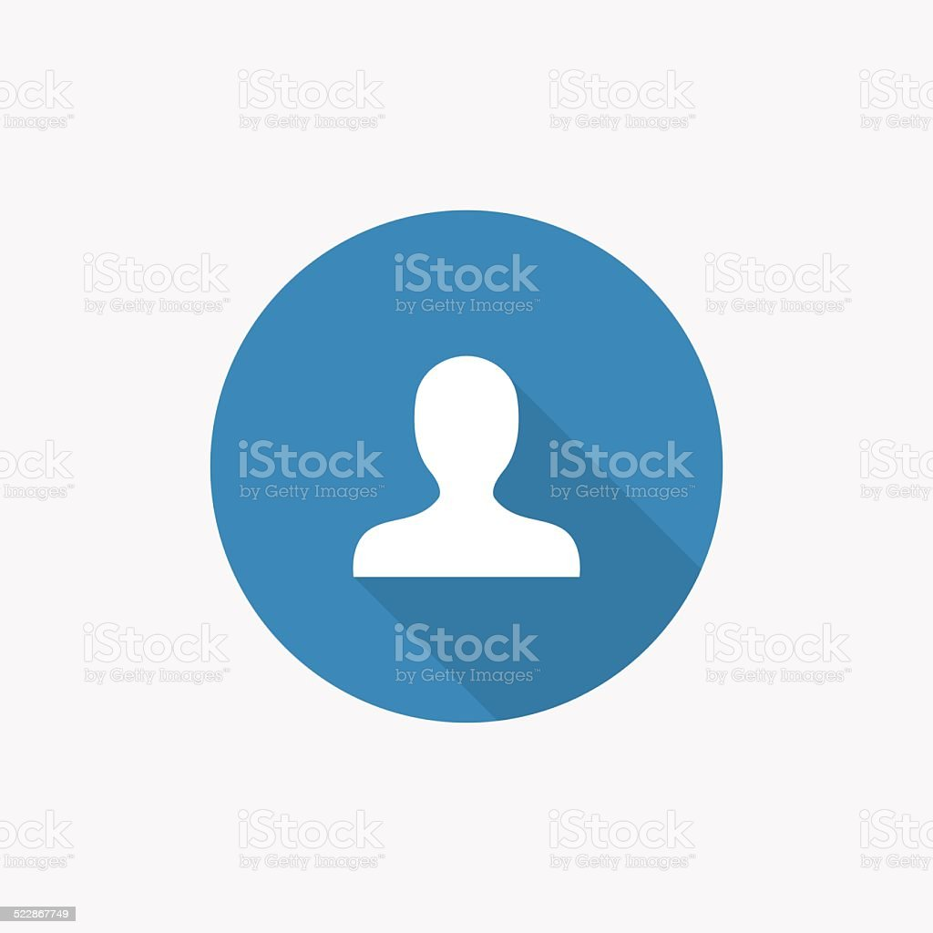 profile Flat Blue Simple Icon with long shadow vector art illustration