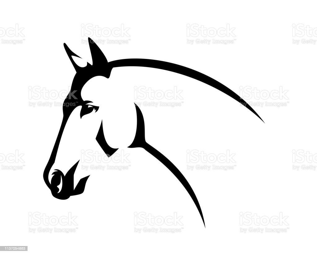 Profile Horse Head Black Line Vector Design Stock Illustration Download Image Now Istock