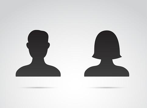 Profile icon - male and female vector art.