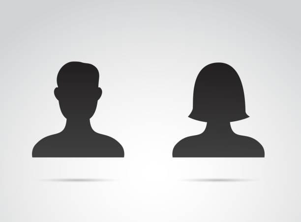 illustrations, cliparts, dessins animés et icônes de icône de profil-art vectoriel masculin et féminin. - personnes masculines
