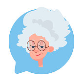 Profile Icon Senior Female Head In Chat Bubble Isolated, Elderly Woman Avatar Cartoon Character Portrait