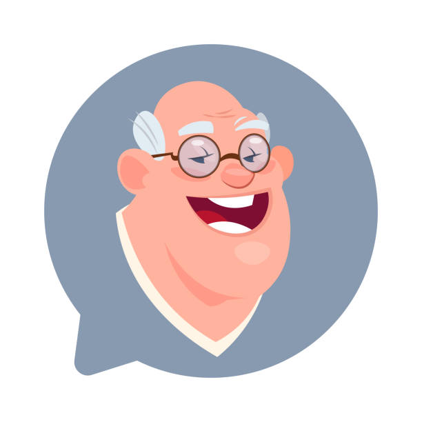profile icon senior male head in chat bubble isolated, man avatar cartoon character portrait - old man computer silhouette stock illustrations, clip art, cartoons, & icons