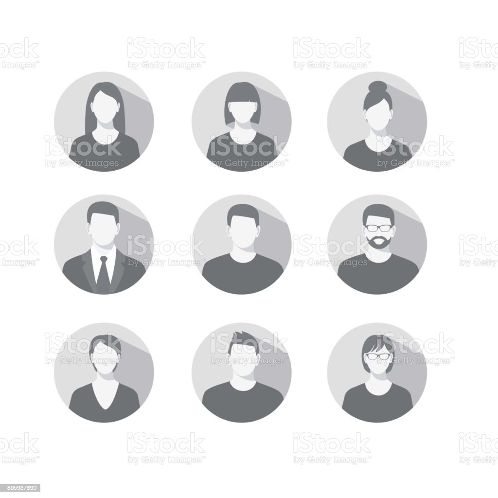 profile icons for men and women vector art illustration