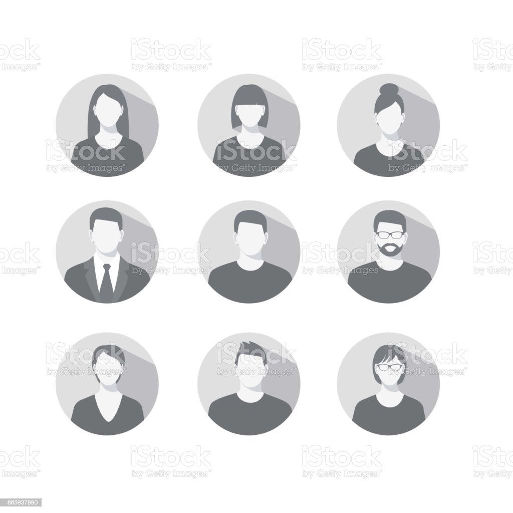 iconos de perfil para hombres y mujeres - ilustración de arte vectorial