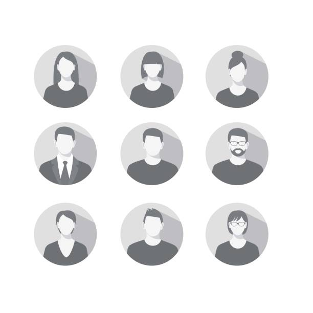 profile icons for men and women - portrait stock illustrations