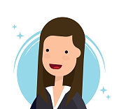 Profile image or avatar with a picture of a businesswoman or a cute girl. Vector illustration. Flat style. Isolated image.