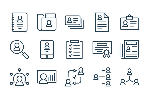 Profile information and File management related line icons. Human resources and Recruitment vector linear icon set. Profile information and File management related line icons. Human resources and Recruitment vector linear icon set. administrate stock illustrations
