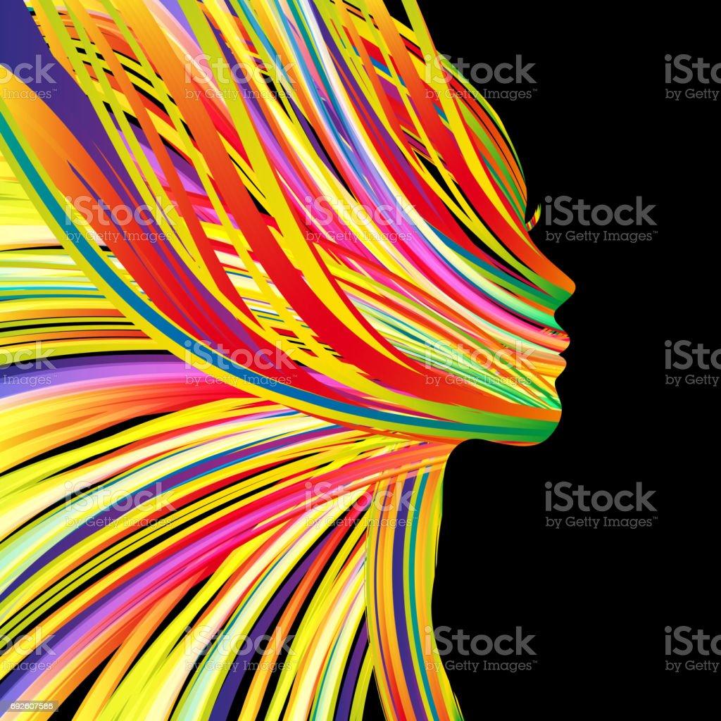 비행 머리와 아름 다운 여자의 프로필 - 로열티 프리 검정 벡터 아트