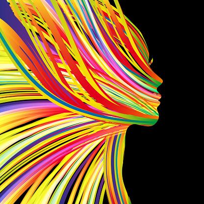 비행 머리와 아름 다운 여자의 프로필 검정에 대한 스톡 벡터 아트 및 기타 이미지