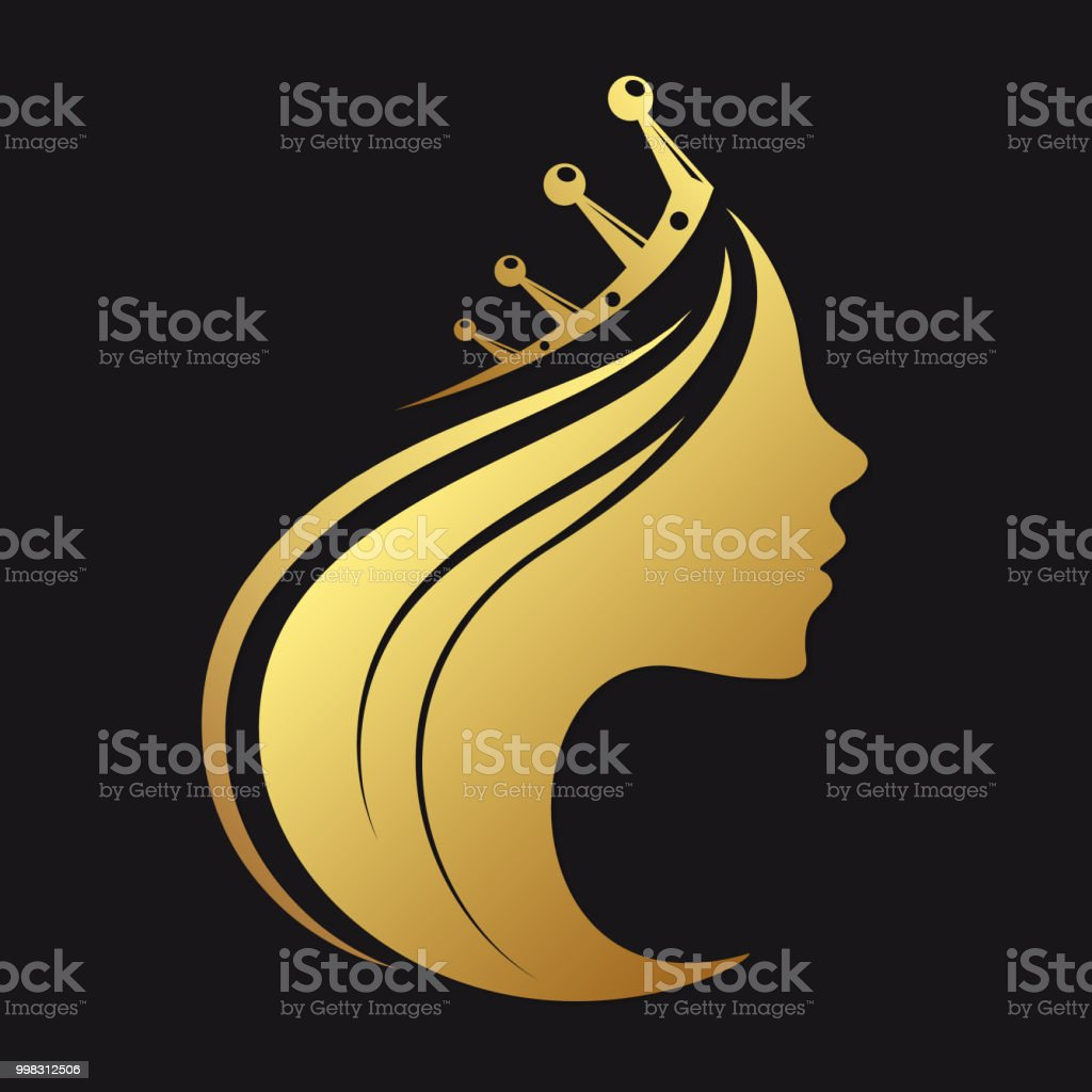 Profile of a girl with a crown vector art illustration
